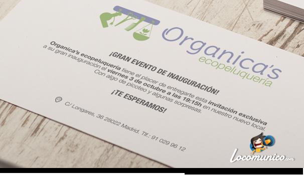 Tarjetón de invitación Organica's