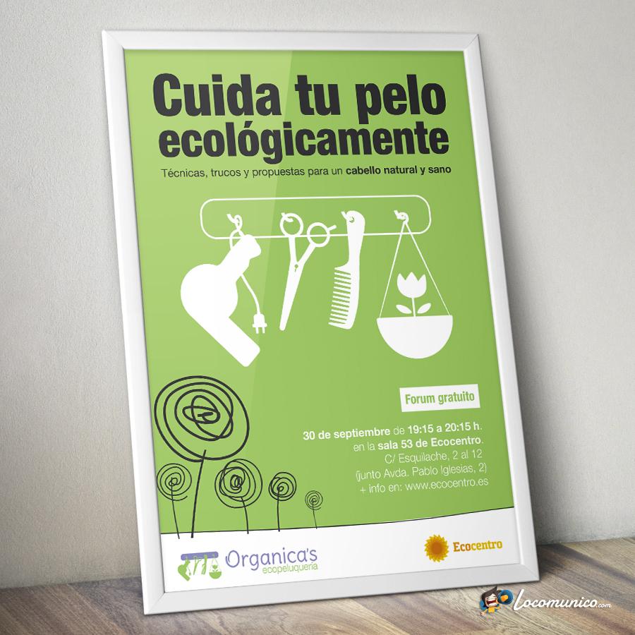Cartel de curso profesional para ecopeluquería.