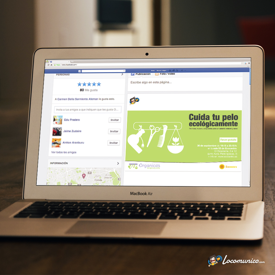 Anuncio de Facebook de curso profesional para ecopeluquería.