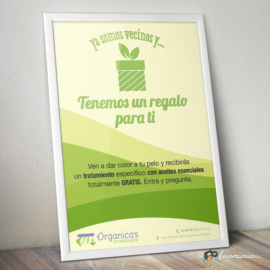 Cartel promocional con oferta de lanzamiento para ecopeluquería.