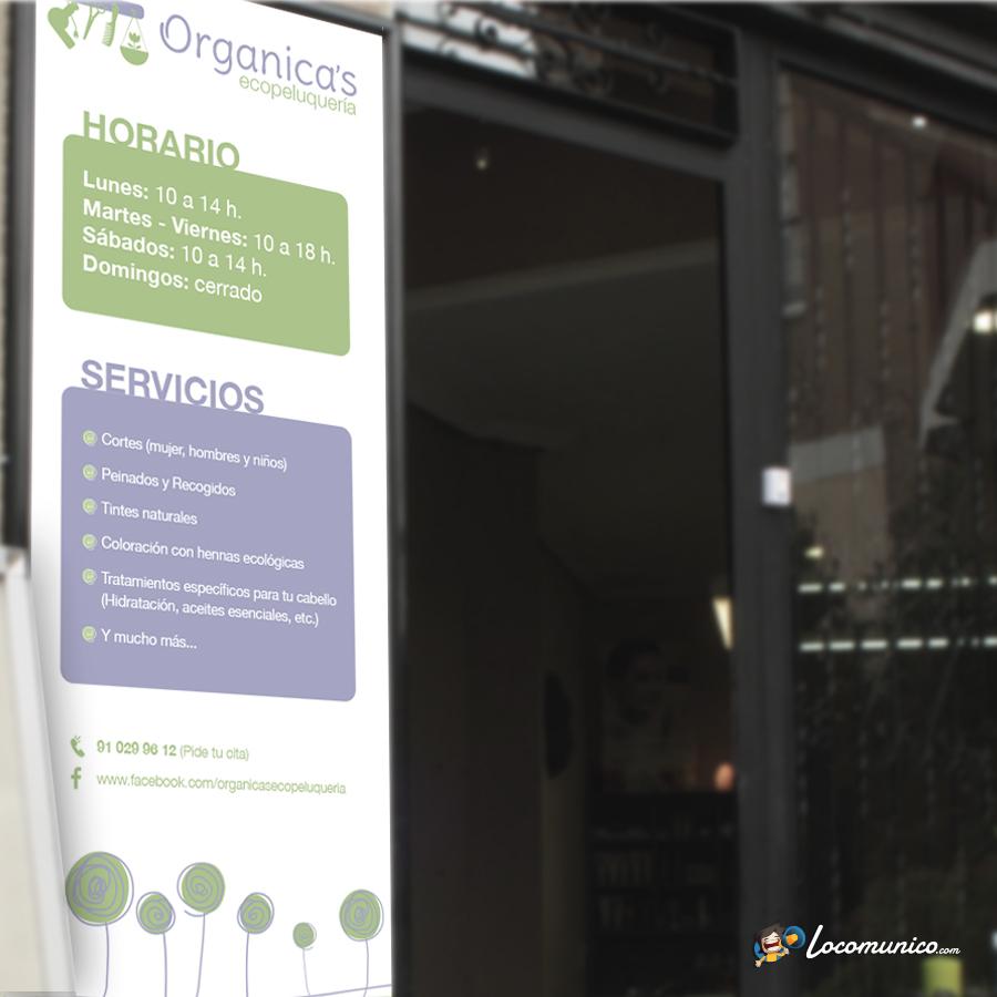 Cartel de horario y servicios para ecopeluquería.