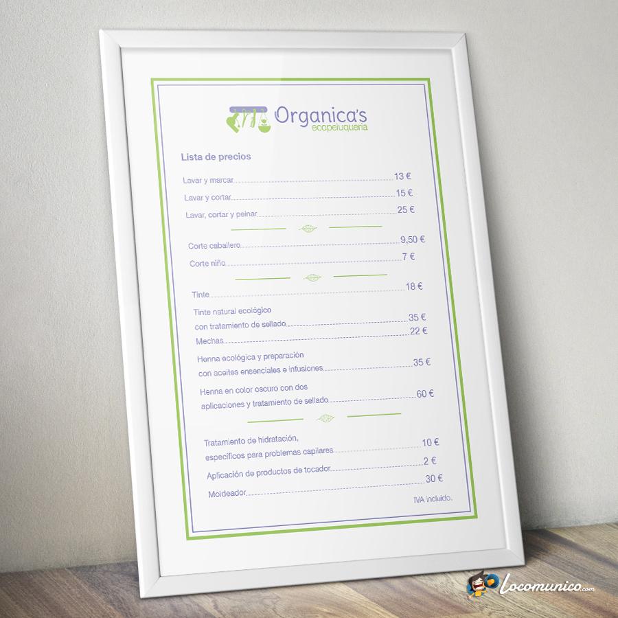 Cartel de precios para ecopeluquería.