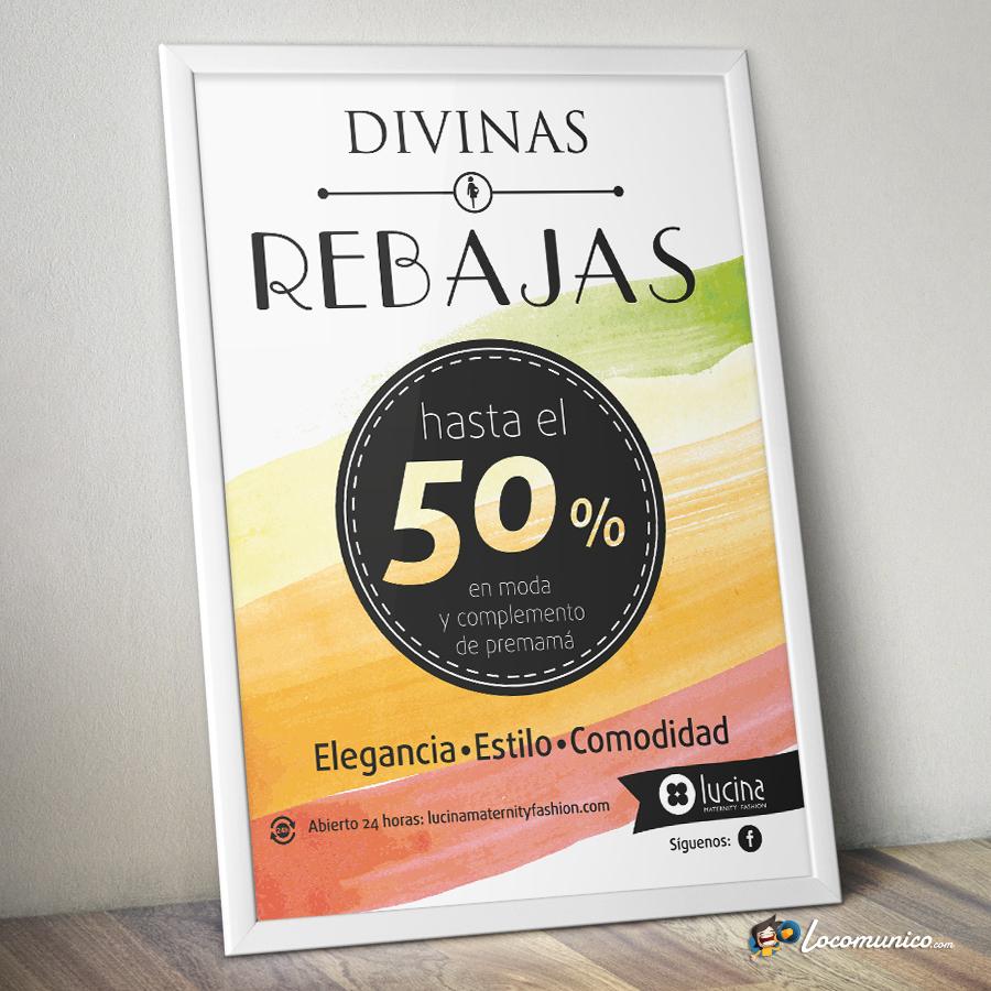 Cartel de Campaña de Rebajas para tiendas de ropa premamá.