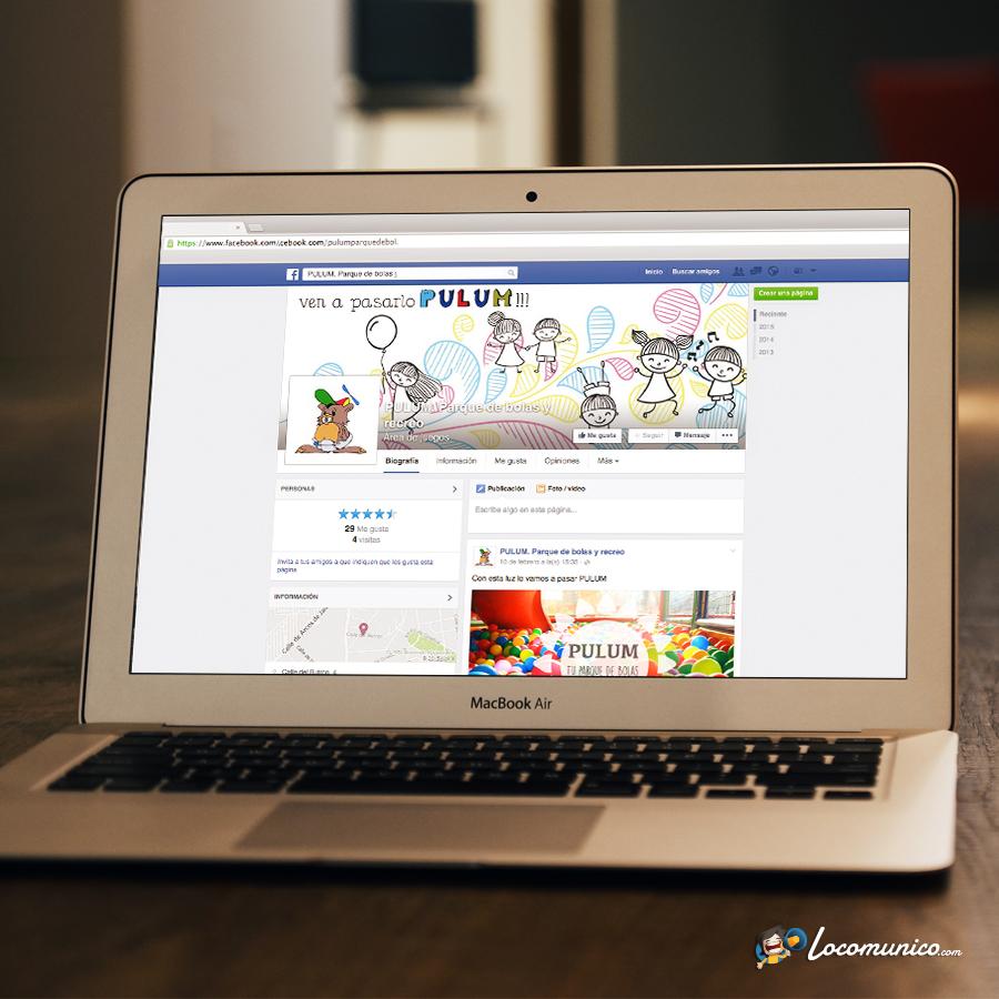 Página de Facebook para parque de bolas y recreo.