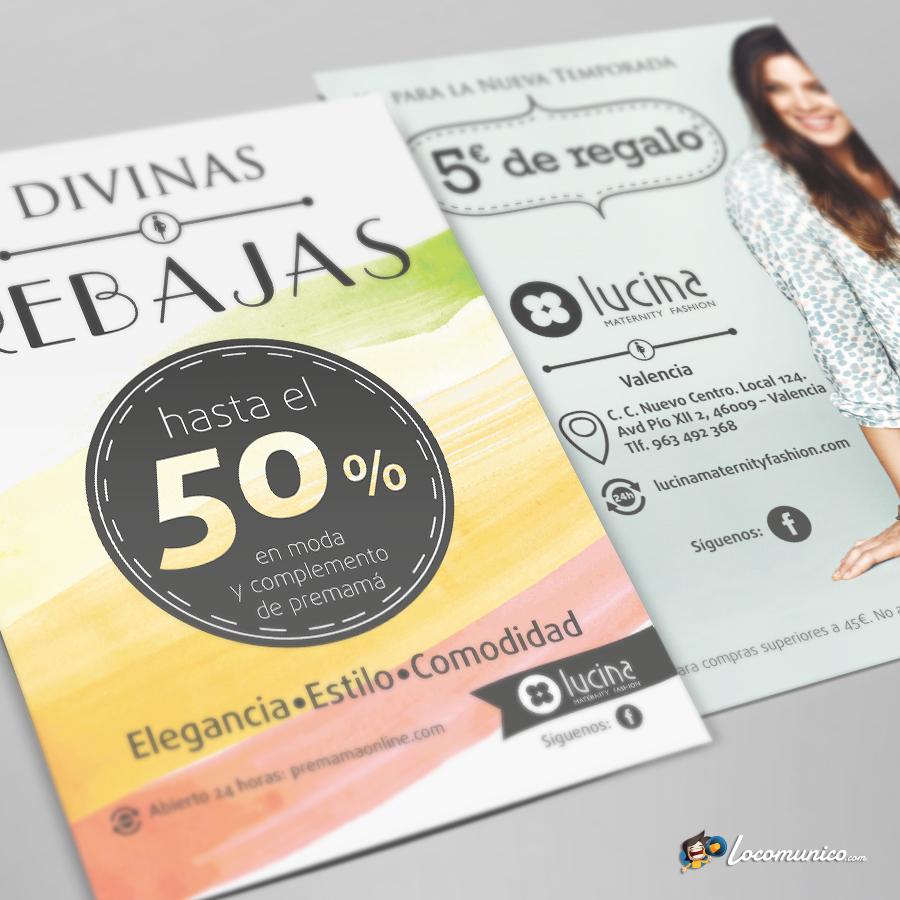 Folletos de Campaña de Rebajas para tiendas de ropa premamá.
