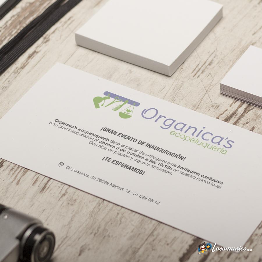 Tarjetón de invitación para evento de inauguración para ecopeluquería.