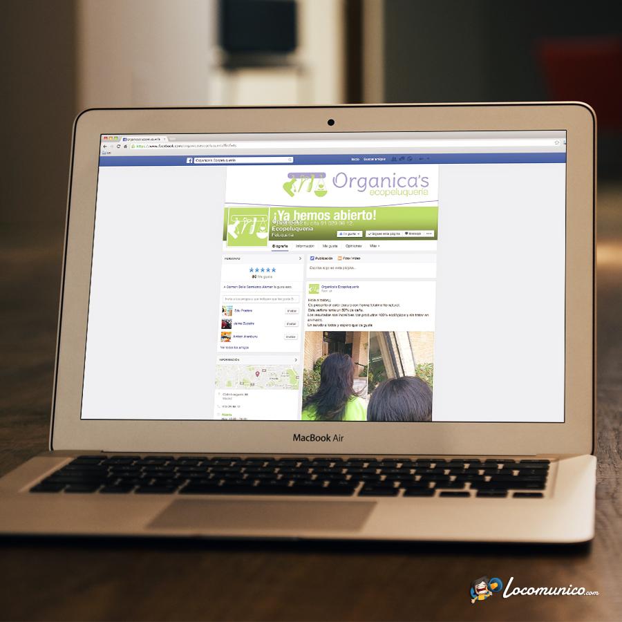 Página de Facebook para ecopeluquería.