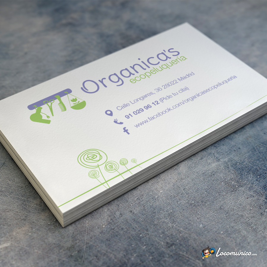 Tarjetas de visita Organica's Ecopeluquería