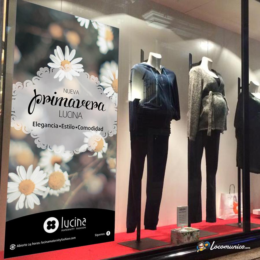 Vinilo de Campaña de Primavera para tiendas de ropa premamá.