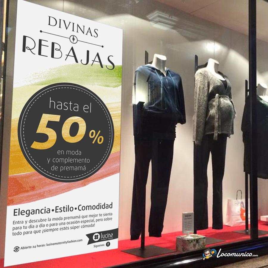 Vinilo de Campaña de Rebajas para tiendas de ropa premamá.
