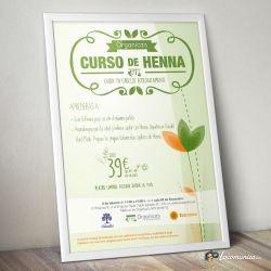 Diseño e impresión de cartel para curso profesional de Organica's Ecopeluquería.