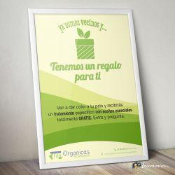 Diseño e impresión de cartel con oferta de lanzamiento para Organica's Ecopeluquería.