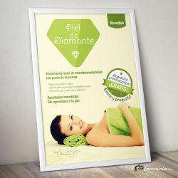 Diseño e impresión de cartel para comunicar un nuevo servicio en el Centro de Belleza Beatriz Rodriguez Beauty Room.
