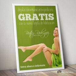 Diseño e impresión de cartel promocional de la nueva tarjeta de fidelización para Beatriz Rodriguez Beauty Room.