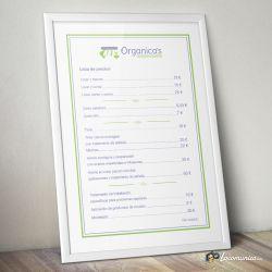 Diseño, impresión e implantación de cartel de precios para Organica's Ecopeluquería.