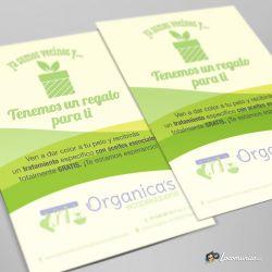 Diseño e impresión de folletos con oferta de lanzamiento para Organica's Ecopeluquería.
