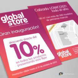 Diseño e impresión de folletos con oferta de lanzamiento para Global Store