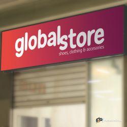 Diseño, impresión e implantación de rótulo luminoso para Global Store